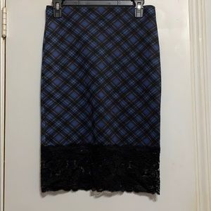 Satin Plaid Skirt with Lace